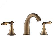 billige Rabatt Kraner-Baderom Sink Tappekran - Utbredt Antikk Messing Udspredt Tre Huller / To Håndtak tre hullBath Taps