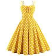 오드리 햅번 도트 무늬 레트로 / 빈티지 1950년대 코스츔 여성용 드레스 옐로우 빈티지 코스프레 면 민소매 무릎 길이