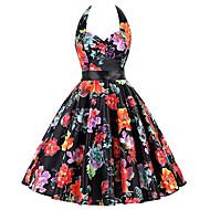 Audrey Hepburn Tupfen Retro / Vintage 50er Kostüm Damen Kleid Schwarz / Weiß / Schwarz / Weiß / Gelb & Schwarz Vintage Cosplay Ärmellos Knie-Länge