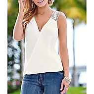 Women's Street chic Tank Top - Solid Colored Lace / Backless V Neck White S / Sexy