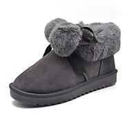 baratos Sapatos Femininos-Mulheres Camurça Inverno Doce Botas Salto Baixo Botas Curtas / Ankle Laço Cinzento / Rosa claro / Khaki