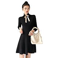 Audrey Hepburn Retro / Vintage Kleines Schwarzes Kleid 50er 1960er Wespe-Taille Kostüm Damen Kleid Schwarz / Beige Vintage Cosplay Langarm Rollkragen Über dem Knie