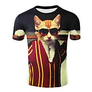 Tee-shirt Grandes Tailles Homme, 3D - Coton Imprimé Basique Col Arrondi Rouge XXL / Manches Courtes