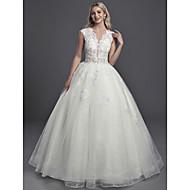 Plesové šaty Illusion Neckline Extra dlouhá vlečka Krajka / Organza / Tyl Svatební šaty vyrobené na míru s Flitry / Knoflíky podle LAN TING BRIDE®