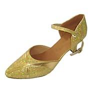 billige Moderne sko-Dame Moderne sko PU Høye hæler Strå Kubansk hæl Dansesko Gull