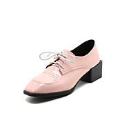 baratos Sapatos Femininos-Mulheres Couro Ecológico Primavera Verão Casual / Minimalismo Oxfords Salto de bloco Ponta quadrada Vermelho / Verde / Rosa claro