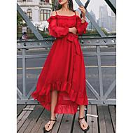 فستان نسائي متموج أساسي رباط طويل للأرض دون الكتف