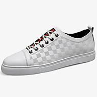 baratos Sapatos Masculinos-Homens Sapatos de couro Pele Napa Primavera & Outono Clássico / Casual Tênis Não escorregar Branco / Preto