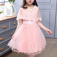 שמלה ללא שרוולים רשת / טלאים פרחוני / טלאים ליציאה מתוק / סגנון רחוב בנות ילדים