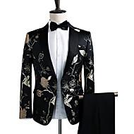 Heren Feest / Club Luxe / Vintage / Verfijnd Lente / Herfst / Winter Normaal Blazer, Bloemen Ingesneden revers Lange mouw Polyester Geborduurd Zwart L / XL / XXL / Formeel zakelijk / Slank