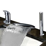 billige Rabatt Kraner-Badekarskran - Moderne / Art Deco / Retro Krom Udspredt Keramisk Ventil Bath Shower Mixer Taps / Rustfritt Stål / Enkelt håndtak tre hull