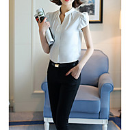 Women's Basic Cotton Blouse - Solid Colored V Neck White L / Spring / Sexy