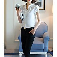 Γυναικεία Μπλούζα Βασικό - Βαμβάκι Μονόχρωμο Λαιμόκοψη V Λευκό L / Άνοιξη / Sexy