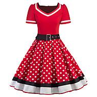 Audrey Hepburn Puantiyeli Retro / Vintage 1950'ler Kostüm Kadın's Elbiseler Siyah / Kırmızı Eski Tip Cosplay Yarım Kol Diz Boyu