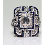 Women's Cubic Zirconia Classic Ring - Copper Ladies, Fashion Jewelry Blue For Daily Evening Party 6 / 7 / 8 / 9 / 10