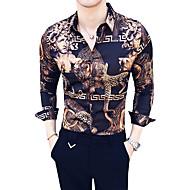 Tynn Klassisk krage Skjorte Herre - Fargeblokk Luksus / Vintage Brun XL / Langermet / Sommer