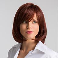 Emberi hajszelet nélküli parókák Emberi haj Természetes egyenes Bob frizura Divatos dizájn / Egyszerű öntettel / Kényelmes Burgundi vörös Közepes Sapka nélküli Paróka Női / Természetes hajszálvonal