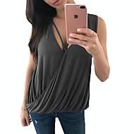 Γυναικεία Αμάνικη Μπλούζα Μονόχρωμο Βαθύ V Με Βολάν / Χαλαρή Εφαρμογή Γκρίζο XL / Καλοκαίρι