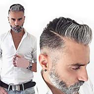 Men's Human Hair Toupees Wavy 100% Hand Tied Soft / Dark Gray
