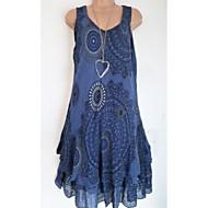 Kadın's V Yaka Bluz Desen, Geometrik / Zıt Renkli Büyük Bedenler / Bahar / Yaz / Sonbahar