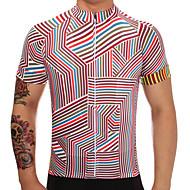 TELEYI Herre Kortærmet Cykeltrøje - Rød Stribe Cykel Trøje Hurtigtørrende Sport Polyester Bjerg Cykling Vej Cykling Tøj / Elastisk / SBS Lynlåse