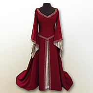 cheap -Retro / Vintage Medieval Costume Women's Dress Red / Green / Blue Vintage Cosplay Polyster Party Prom Long Sleeve Flare Sleeve Floor Length Long Length Plus Size
