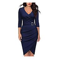Χαμηλού Κόστους -Γυναικεία Βασικό Βαμβάκι Εφαρμοστό Θήκη Φόρεμα Μίντι Λαιμόκοψη V