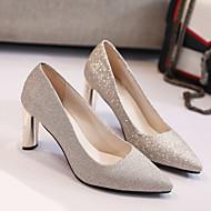 baratos Sapatos Femininos-Mulheres Couro Ecológico Primavera Saltos Salto Robusto Dedo Apontado Dourado / Preto / Prata / Festas & Noite