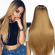 Perruque Synthétique Femme Droit Blond Cheveux Synthétiques Cheveux Colorés / Perruque afro-américaine Blond Perruque Long Sans bonnet Blond de fraise