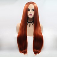Synthetic Lace Front Wig kinky Straight Style Layered Haircut Lace Front Wig Brown Orange Synthetic Hair 24 inch Women's Women Brown Wig Long Sylvia 130% Density Natural Wigs