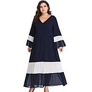 dames dagelijkse midi slim shift jurk v-hals marine blauw xl xxl xxxl xxxxl