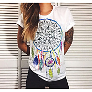 Damen Geometrisch T-shirt Schlank Weiß L