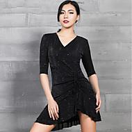 cheap -Latin Dance Dresses Women's Performance Spandex Glitter / Ruching Half Sleeve Dress