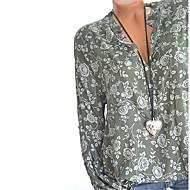 女性用 プリント プラスサイズ Tシャツ ストリートファッション Vネック フラワー ネイビーブルー XXXL