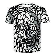 Ανδρικά Μεγάλα Μεγέθη T-shirt Γεωμετρικό / Νεκροκεφαλές Στρογγυλή Λαιμόκοψη Στάμπα Μαύρο XXL / Κοντομάνικο