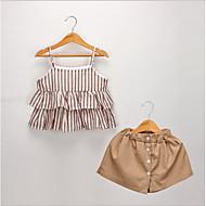 Kinder / Baby Mädchen Grundlegend Gestreift Ärmellos Polyester Kleidungs Set Braun