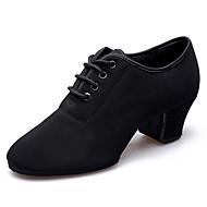 billige Jazz-sko-Dame Jazz-sko Lerret Høye hæler Tykk hæl Dansesko Svart / Rød