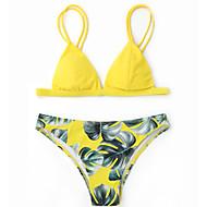 Dam Vintage Bohem Halterneck Gul Vin Ljusblå Triangel G-string Bikini Badkläder - Blommig Tryck M L XL Gul