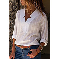 Women's Daily Street chic Plus Size Cotton Shirt - Solid Colored V Neck Blushing Pink XXXL