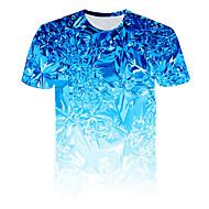 남성용 3D 라운드 넥 프린트 - 티셔츠, 베이직 / 스트리트 쉬크 클럽 푸른 XXXL / 짧은 소매