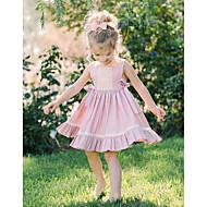 Baby Pige Basale Ensfarvet Uden ærmer Bomuld Kjole Lyserød