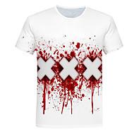 Tee-shirt Homme, Bloc de Couleur / 3D Imprimé Soirée Basique / Chic de Rue Col Arrondi Blanc XXXL / Manches Courtes