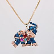 Mujer Clásico Collares con colgantes Collares Declaración Collar Elefante Animal Diseño Único Clásico Vintage Étnico Cool Encantador Rojo Azul 70 cm Gargantillas Joyas 1pc Para Carnaval Mascarada