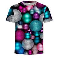 Men's Cotton T-shirt - Color Block / 3D Print Round Neck Rainbow XL