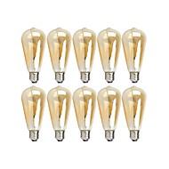 10pcs 4 W 360 lm E26 / E27 مصابيحLED ST64 4 الخرز LED COB تخفيت أبيض دافئ 220-240 V / 110-130 V
