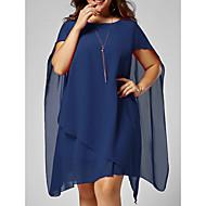 Frauen knielanges dünnes Hemd Swingkleid Chiffon rot schwarz Marineblau S m L xl