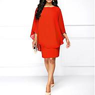 cheap -Women's Basic Chiffon Dress - Solid Colored Red Purple Royal Blue XXXL XXXXL XXXXXL
