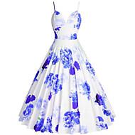 Kadın's Büyük Bedenler Dışarı Çıkma 1950'ler A Şekilli Elbise - Çiçekli, Desen Askılı Diz-boyu