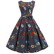 Női Vintage 1950-es Pamut A-vonalú Ruha - Csokor Nyomtatott, Pöttyös Virágos Midi V-alakú