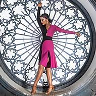 cheap -Latin Dance Dresses Women's Performance Spandex Ruching / Split Joint Long Sleeve Dress
